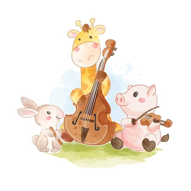 クラシック楽器のイラストを演奏するかわいい動物   プレミアムベクター
