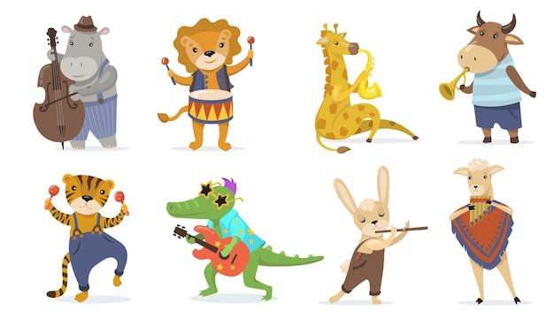 악기를 연주하는 귀여운 동물 평면 그림을 설정합니다. 기타와 만화 악어, 색소폰과 기린, 드럼 격리 된 벡터 일러스트 컬렉션 사자. 어린 이용 음악 및 마스코트 c 무료 벡터
