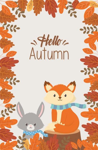 Cute animals saying hello autumn season | Premium Vector