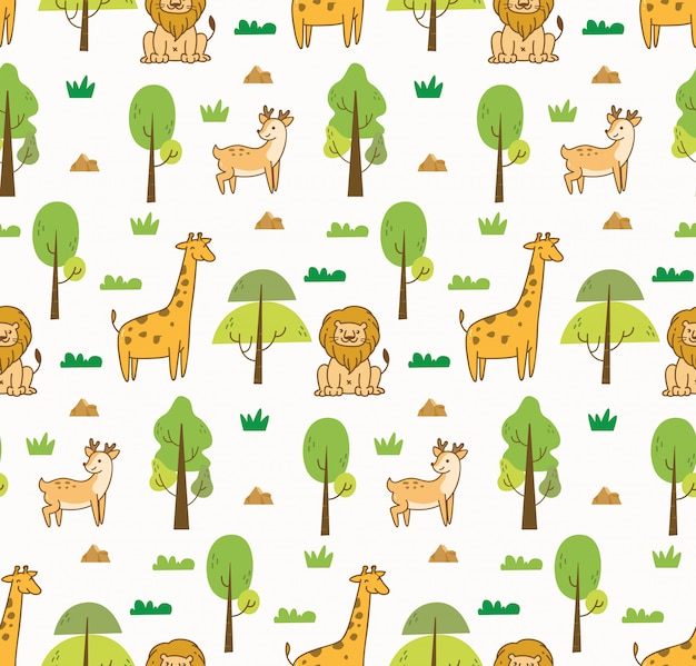 Cute animals seamless background Premium Vector
