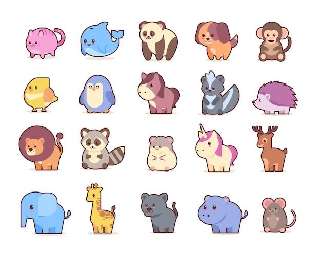 Милые животные набор героев мультфильмов Premium векторы