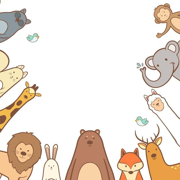 Cute animals set in hand drawn frame background Premium Vector