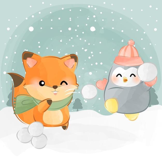 Cute animals snowball fight Premium Vector