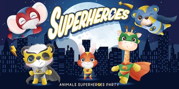 Симпатичные животные супергерой с акварельной иллюстрацией Premium векторы