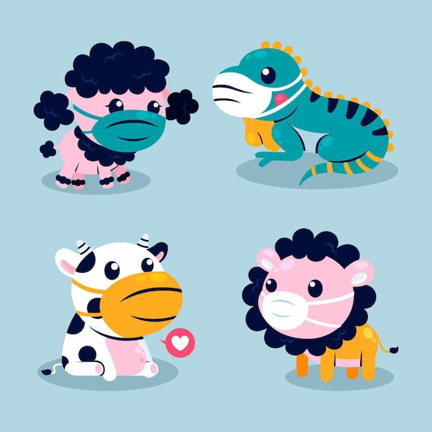Cute animals in times of coronavirus Free Vector