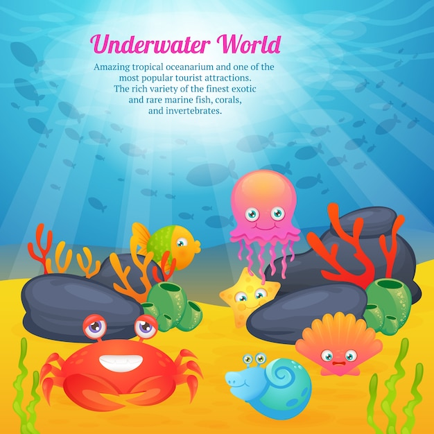Cute animals underwater world series Free Vector