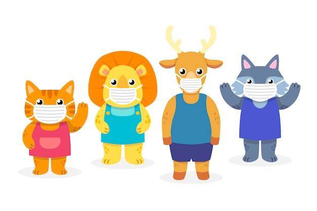 Simpatici animali che indossano maschere per il viso Vettore gratuito