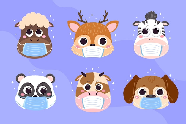 Cute animals wearing face masks Free Vector