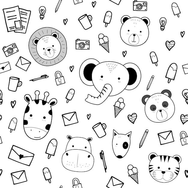 Cute animals with doodle stuff cartoon seamless pattern Premium Vector