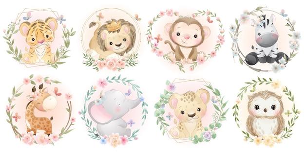 꽃 컬렉션과 귀여운 동물 프리미엄 벡터