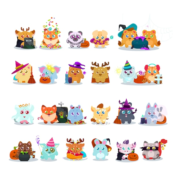 Cute animals with halloween costumes collection Free Vector