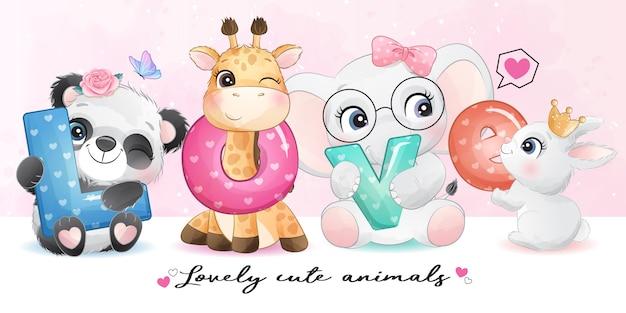 Cute animals with love alphabet illustration Premium Vector