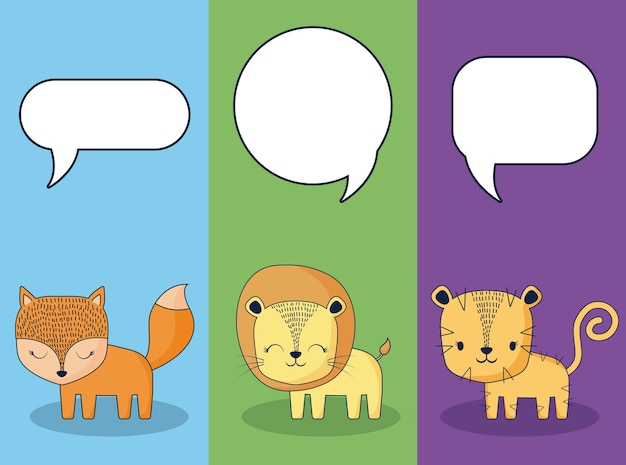 Cute animals with speech bubbles Vector | Premium Download