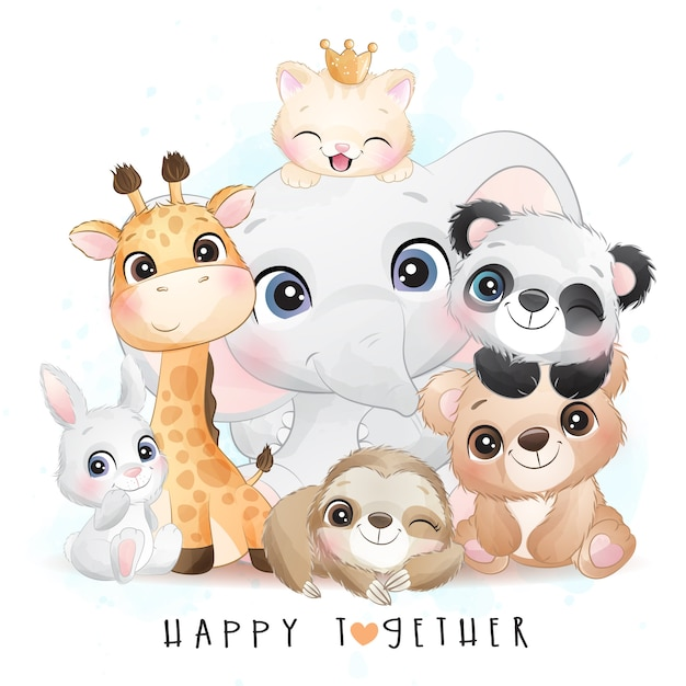 Cute animals with watercolor illustration Premium Vector