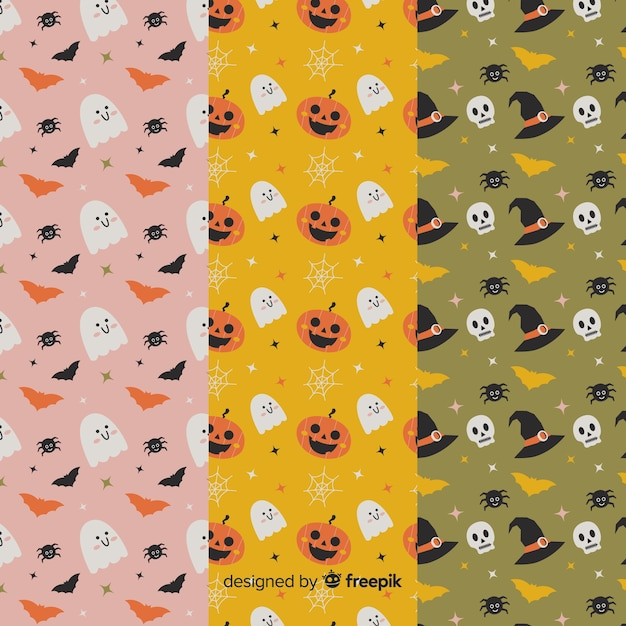 Cute animated cartoons flat halloween pattern collection Free Vector