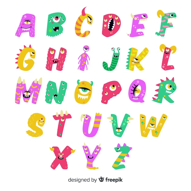 Cute animated halloween monster alphabet on white background Free Vector