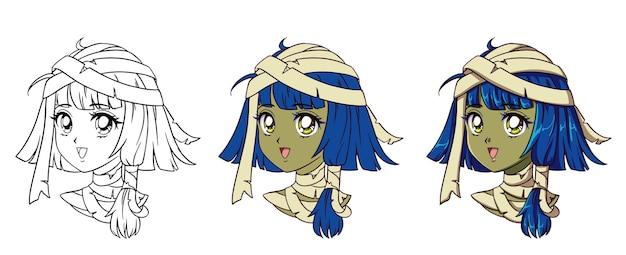 Милый аниме мумия портрет девушки. три варианта: контур, плоские цвета, растушевка. Premium векторы