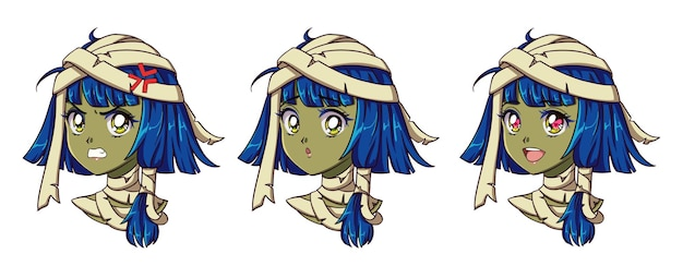 Милый аниме мумия портрет девушки. два разных выражения. рисованной в стиле ретро аниме 90-х годов. Premium векторы