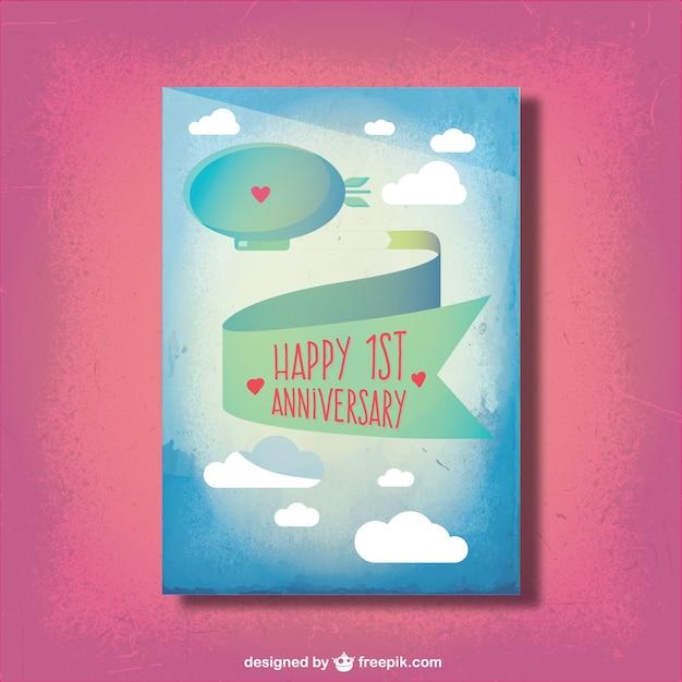 Cute anniversary card Free Vector