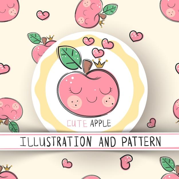 Cute apple - seamless texture pattern Premium Vector