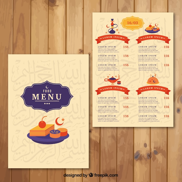 Cute arab menu template with dishes Free Vector