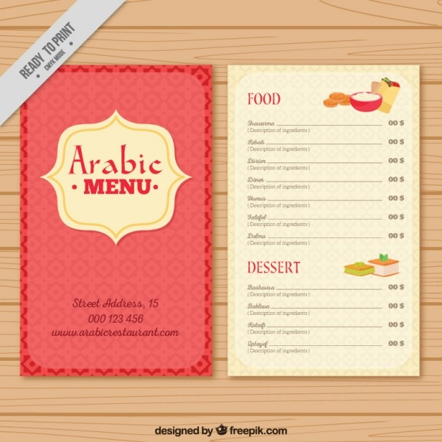 Cute arab menu template vector free download for Arabian cuisine menu