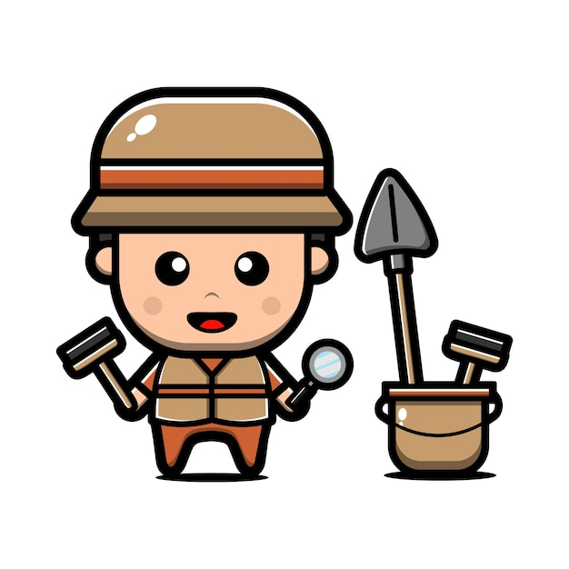 Cute archaeologist character Premium Vector