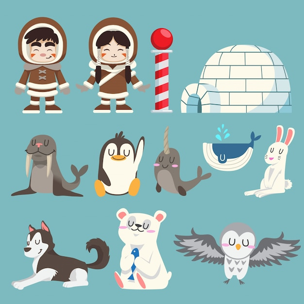 Cute arctic and north pole animals vector set Premium Vector