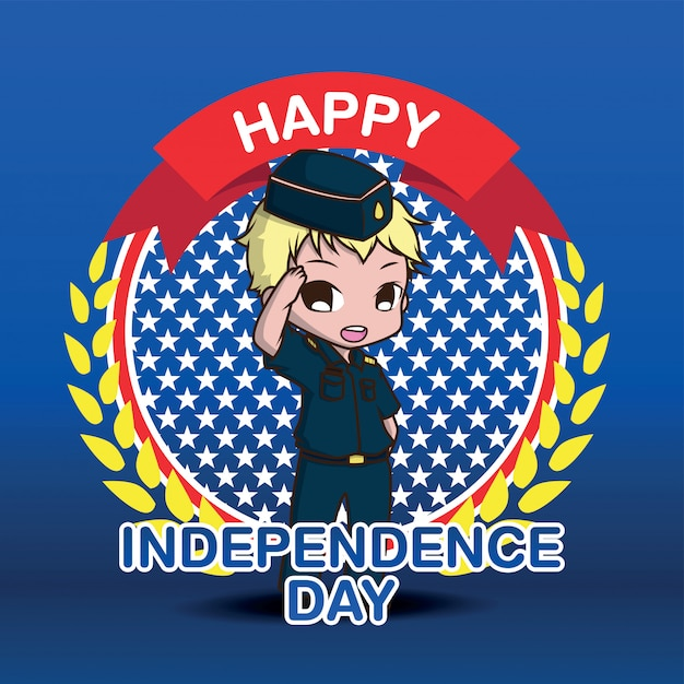 Cute army cartoon character, happy independen day. Premium Vector