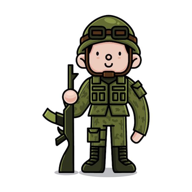 Premium Vector Cute Army Cartoon Character