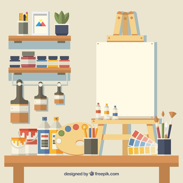 studio cute vector elements many background tools artists icon canvas mock psd artistic museum fine piece word icons ago كل