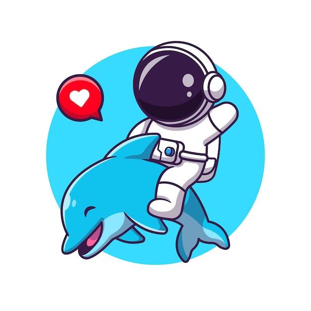 Симпатичные asrtronout с иллюстрации шаржа дельфинов. Бесплатные векторы