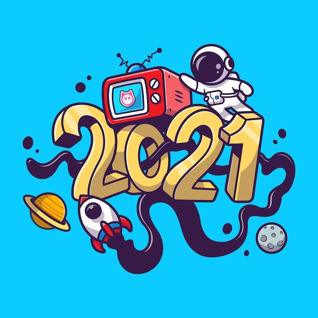 Cute astronaut in 2021 new year space cartoon Free Vector