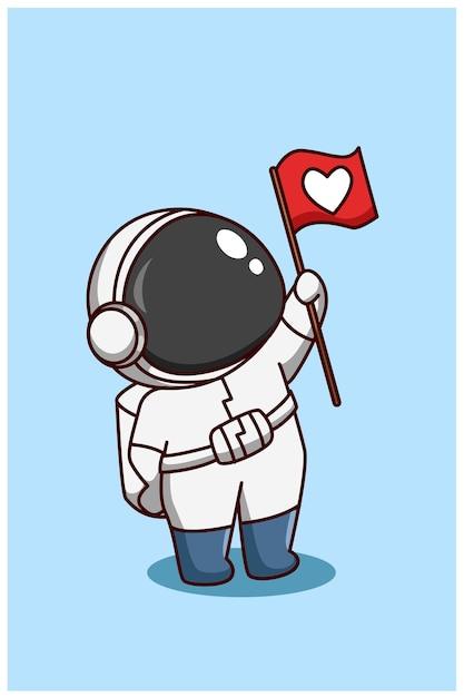 Cute astronaut bring flag cartoon illustration Premium Vector