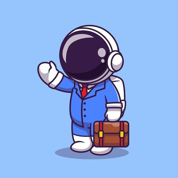 귀여운 우주 비행사 사업가 만화 그림. 과학 비즈니스 아이콘 개념입니다. 플랫 만화 스타일 무료 벡터