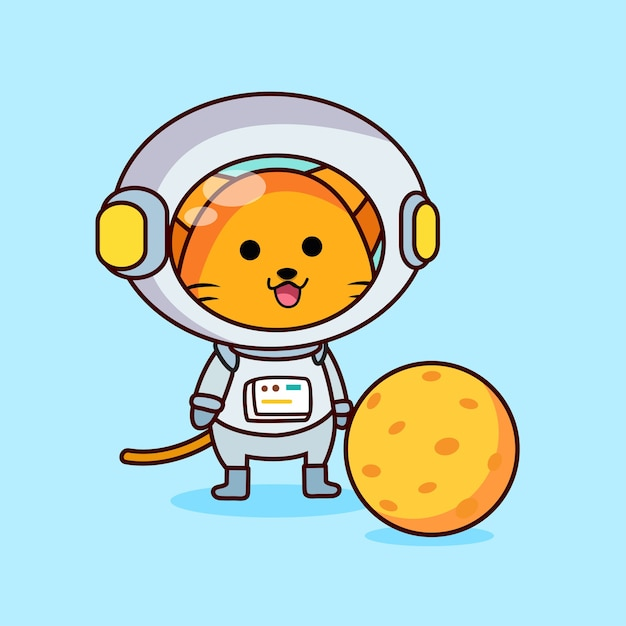 Cute astronaut cat with a moon Premium Vector