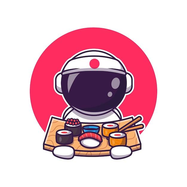 寿司漫画を食べるかわいい宇宙飛行士。科学食品アイコンコンセプト分離。フラット漫画スタイル 無料ベクター