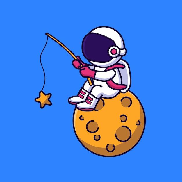 かわいい宇宙飛行士釣り Premiumベクター