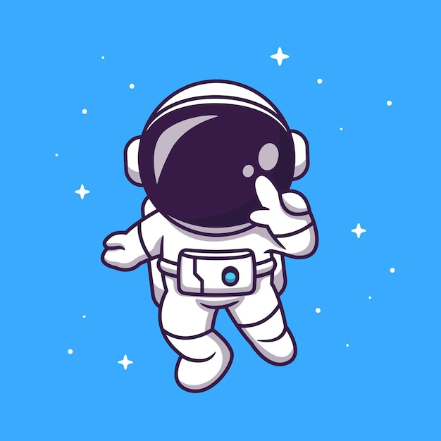 宇宙で飛んでいるかわいい宇宙飛行士漫画アイコンイラスト。 無料ベクター
