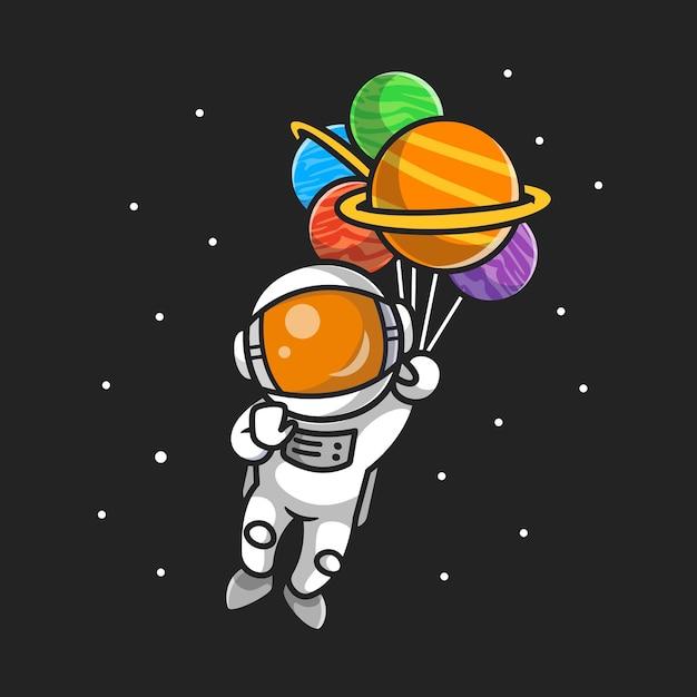 Милый космонавт летит с планетными воздушными шарами в космосе мультфильм Бесплатные векторы