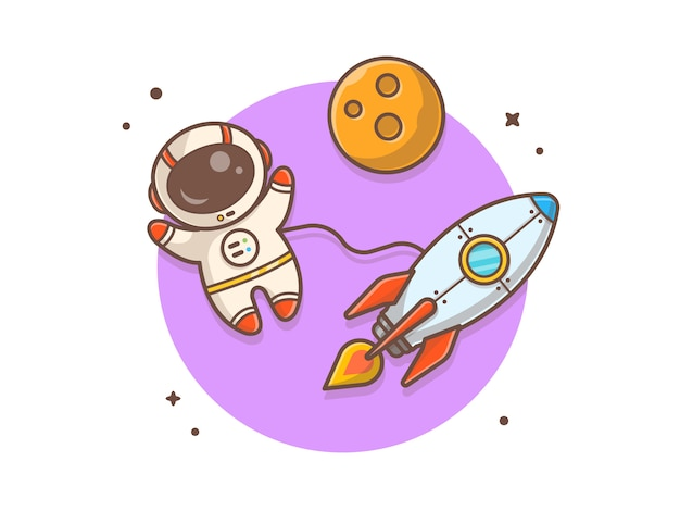 Cute astronaut flying with rocket and planet  illustration Premium Vector