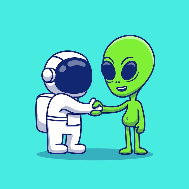 Premium Vector Cute Astronaut Hand Shake With Alien Cartoon Icon Illustration Space Icon Concept Isolated Premium Flat Cartoon Style They have one single goal: https www freepik com profile preagreement getstarted 9431843