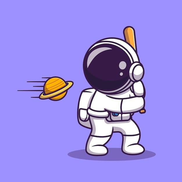 Simpatico astronauta ha colpito la palla del pianeta con il fumetto del bastone da baseball Vettore gratuito