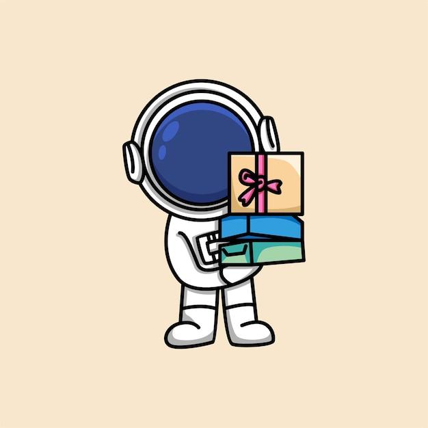 かわいい宇宙飛行士はギフトボックスの漫画イラストを保持します Premiumベクター