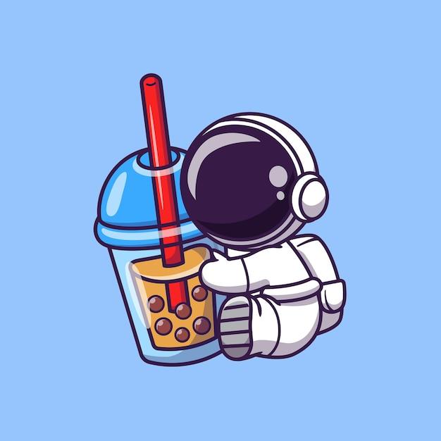 ボバミルクティー漫画ベクトルアイコンイラストを保持しているかわいい宇宙飛行士。宇宙食と飲み物のアイコン 無料ベクター