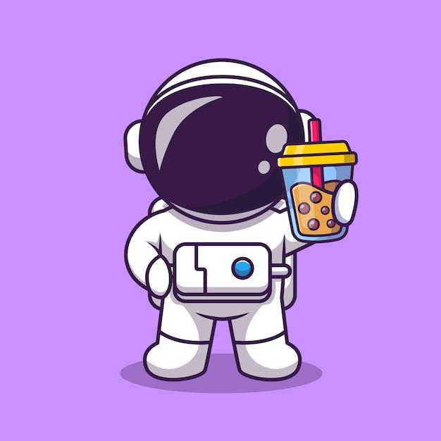 Милый астронавт держит чай с молоком боба мультфильм векторные иллюстрации. наука еда и напитки концепция изолированных вектор. плоский мультяшном стиле Premium векторы