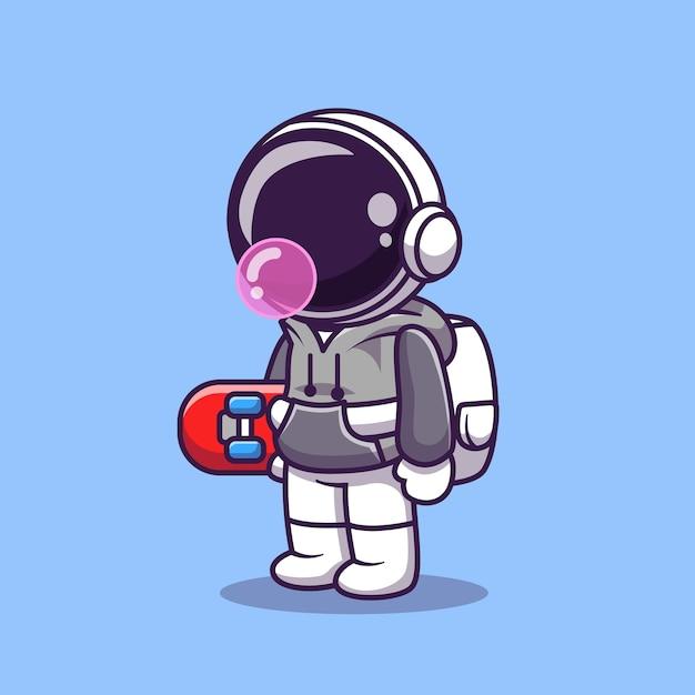 スケートボード漫画ベクトルアイコンイラストを保持しているかわいい宇宙飛行士。科学スポーツアイコン Premiumベクター