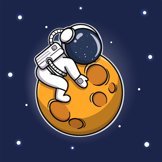 Cute astronaut hugging the moon Premium Vector