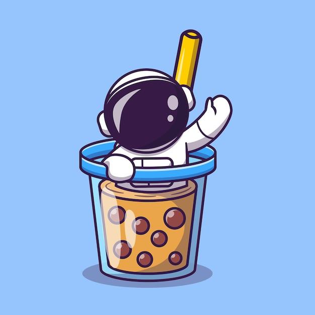 Милый астронавт в чашке чая с молоком боба мультфильм вектор значок иллюстрации. космическая еда и напитки значок Premium векторы