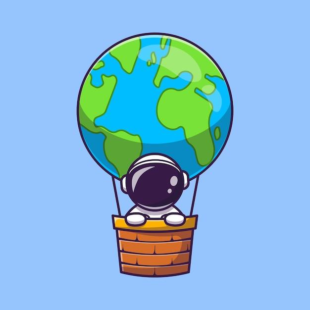 熱気球地球漫画アイコンイラストでかわいい宇宙飛行士。科学輸送アイコン概念分離。フラット漫画スタイル 無料ベクター